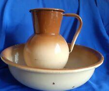 More details for vintage retro rustic shabby large brown beige enamel pitcher jug & washbowl