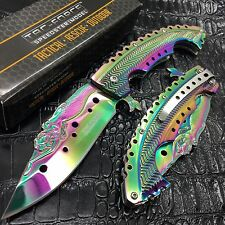 Tac Force Rainbow Titanium Coated blade w/ Stamped Mermaid Design Fantasy Knife