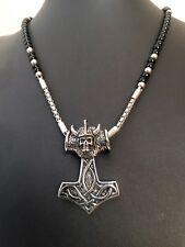 Edelstahl Anhänger Thorhammer mit Onyx Kette 64cm Wikinger Skull Odin Thor O17