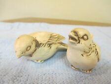 "Pair of Vintage Wolin Cream & Brown Ceramic Birds ~ 3 1/2"" ~ Paper Label"