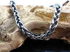Edelstahl Kette Zopfkette  Halskette Länge: 62 cm Stärke: 8 mm geschwärzt Biker