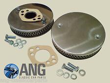 "MGB, MGB-GT 62-72 STAINLESS STEEL HS4 1 1/2"" SU PANCAKE AIR FILTERS & GASKETS x2"