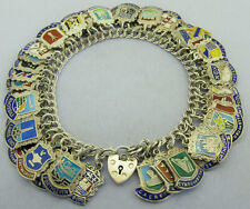 Vintage 1950s 1960s Silver Shield Crest Travel Charm Bracelet 50 Charms 75 grams