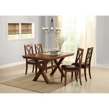 Rustic Dining Table and Chairs 5 Piece Set Farm House Kitchen Classic Farmhouse