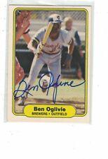 1982 Fleer Ben Oglivie Milwaukee Brewers Authentic Autograph COA