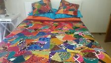 BATIK QUEEN SIZE BED COVER * NEW * DOUBLE SIDED * REVERSIBLE * VIBRANT COLOURS *