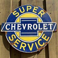 VINTAGE CHEVROLET SERVICE PORCELAIN METAL SIGN CHEVY TRUCK AUTO CAR GAS STATION