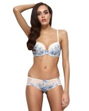 Gossard China Blue 12301 Underwired Padded Plunge Push up MOULDED Printed Bra 36 FF