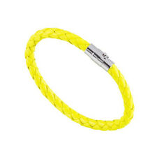 Mens Genuine Leather Braided Bracelet Wristband Colours Magnetic Clasp 6mm Fluorescent Yellow