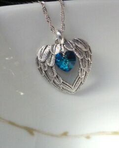 Angel Wings Necklace Angel Necklace Wings Pendant Grief Jewelry Heart Necklace