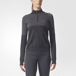 Adidas Womens Running CLMHT PK ZIP Climaheat Sweatshirt - Heather Grey Charcoal
