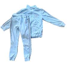 Girls 2 Piece Set Jacket & Pants Light Blue Velvet, Size 12Y, For 11-13 Years