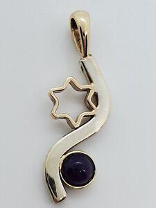 Custom Made 14k Yellow Gold Sterling Silver Star of David Amethyst Bezel Pendant