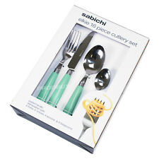 16 Piece Elkie Stainless Steel Cutlery Set Duck Egg Blue Handles Dining Table