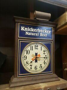 Vintage Knickerbocker Beer Bar Light Working Clock  Ruppert Brewery NY 1950s
