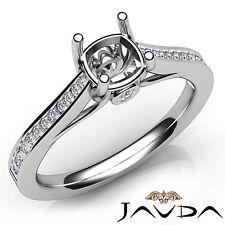 Channel Setting Cushion Diamond Semi Mount Engagement Ring 14k White Gold 0.30Ct