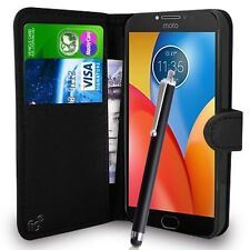 Black Wallet Case PU Leather Book Cover For Motorola Moto E4 Mobile Phone