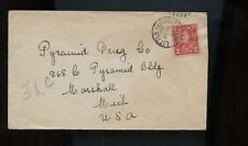 Canada KGV Cover 1931 Little Current (Georgian Bay), Ontario to Marshall, Mich