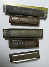 Vintage Harmonicas 1 Celebration & M. Hohner 3 Marine Band & 1 Sportsman