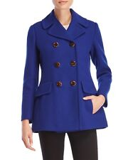 NWT $418  Kate Spade  Women's Blue Double-Breasted Wool Coat  XS
