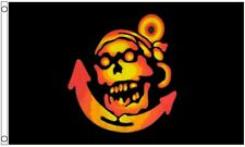 Pirate Golden Skull and Anchor 5'x3' Flag