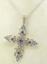 """6.4 GRAMS STERLING SILVER & 18KT ROSE GOLD PINK & WHITE SAPPHIRE CROSS 18"""" Q119"""
