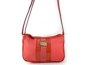 Salvatore Ferragamo Vara Orange Nylon/Patent Leather Cross-body Handbag