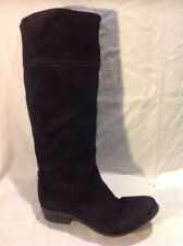 Office Black Knee High Suede Boots Size 38