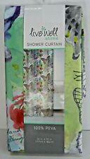 Live Well Home Peva Vinyl Shower Curtain Butterflies Floral 70 x 72