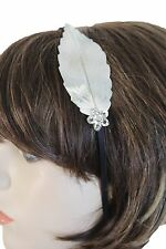 New Women Silver Metal Long Leaf Charm Head Band Fashion Jewelry Mini Flower Fun
