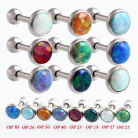 Surgical Steel Internally Threaded Opal Labret Helix Cartilage Tragus Lip Bar