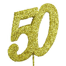 50 Gold Glitter Number on a Pick - 50th Birthday Anniversary Cake Topper