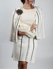 CHANEL Cotton  06P 2 Piece White Skirt Jacket/Cardigan Sweater Suit