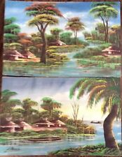 Two Signed Oil Paintings From Asia Cambodia Village River Scenes