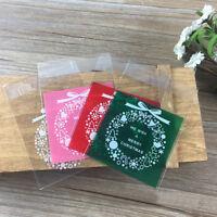 Fj- Am _100x Natale Ghirlanda Plastica Regalo Borse Biscotti Caramelle Packaging