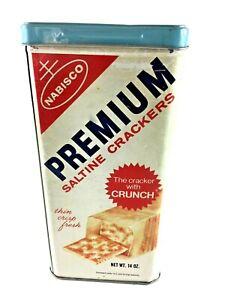 Nabisco Advertising Premium Saltine Crackers Tin Box Canister Vintage