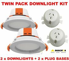TWIN PACK KIT 2 x MERCATOR APOLLO CCT 9W LED DOWNLIGHT + PLUG BASE SOCKET OUTLET