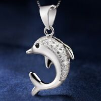 Dolphin Pendant 925 Sterling Silver Chain Necklace Womens Ladies Jewellery Gift