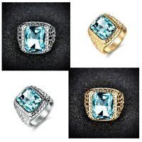 Fashion Mens Stainless Steel Princess Blue Aquamarine Crystal Snakeskin Rings
