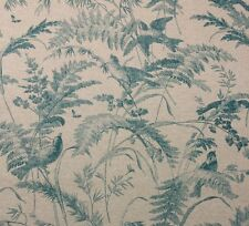 "LACEFIELD DESIGNS BIRD TOILE SEAFOAM BLUE FLORAL FABRIC BY THE YARD 54""W"