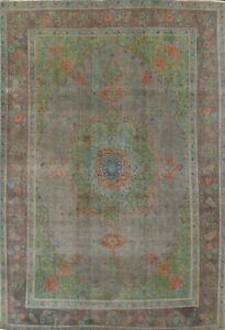 Overdyed Hand-knotted Semi-Antique Tebriz Oriental Evenly Low Pile Area Rug 9x12