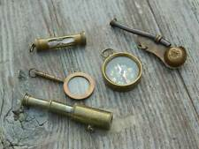 BRASS NAUTICAL GIFT SET-TELESCOPE,COMPASS,MAGNIFIER,BOSUN WHISTLE,SAND TIMER