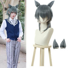 Beastars Legosi Cosplay Wig Gray Beige Color Mixing Medium Straight Ears Wigs