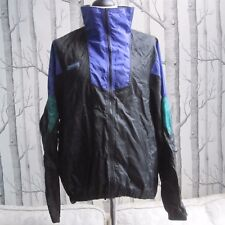 Columbia Retro Thin Jacket Track Top Shower Proof Black Men's XL Vintage RipStop