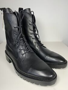 Zara Back real leather ankle length combat boots silver stud detail size 41 UK 8