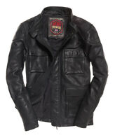 "New Mens Superdry Leather Rotor Jacket Black Size: 2XL 44"" (112cm) RRP £199.99"