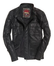 """New Mens Superdry Leather Rotor Jacket Black Size: 2XL 44"""" (112cm) RRP £199.99"""