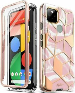 Google Pixel 5 Case Full-Body 360 Degree Shockproof Phone Cover Marble Pink