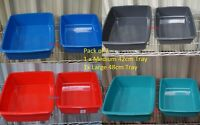 Pack of 2 Plastic Pet Cat Litter Tray s - Medium and Large (Different Colours)