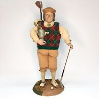 Vintage Large Figurine Doll Golf Player with Golf Bag Clubs and Trophy